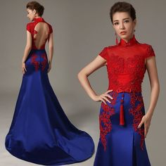 Red lace blue satin mandarin collar trailing evening gown Chinese bridal wedding qipao dress 002