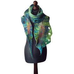 Felted scarf felt scarf felted collar handmade art to wear green... ($66) ❤ liked on Polyvore featuring accessories, scarves, felted and felted scarf