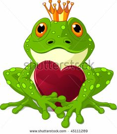 Frog Prince waiting to be kissed, holding a heart. by Pushkin, via Shutterstock