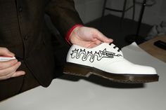 Mark Wigan customising Dr. Martens