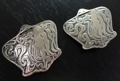 MUCHA Sterling Silver LUGGAGE TAG PENDANT EARRINGS ~ VICTORIAN ANTIQUE NOUVEAU  in Antiques, Silver, Sterling Silver (.925), Other Antique Sterling Silver | eBay