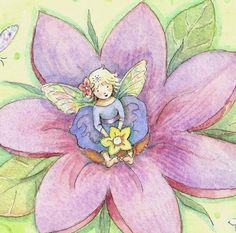 Tiny Fairy Perched Upon a Lily - Becky Kelly Fairy Dust, Fairy Land, Fairy Tales, Fantasy Drawings, Fantasy Art, Silver Penny, Illustrator, Artists For Kids, Flower Fairies
