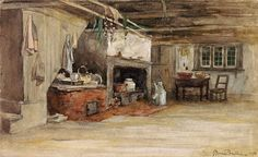 """""""Intérieur de maison"""" by Horatio Walker - A representation of the inside of a rural French-Canadian house in the late century. However, not much would have changed since the earlier days of French colonization. Quebec, Virtual Families 2, Canadian House, Vernacular Architecture, Colonial Architecture, French Colonial, Cottage Art, Canadian History, Family Roots"""