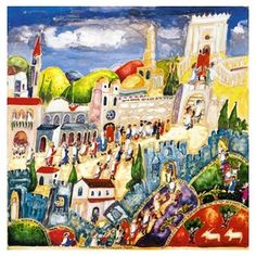 Michal Meron Simchat Torah Theme Paper Print in Bright Colors