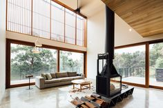 What a fireplace Invermay House by Moloney Architects via - Architecture and Home Decor - Bedroom - Bathroom - Kitchen And Living Room Interior Design Decorating Ideas - Indoor Firewood Rack, Firewood Storage, Home Fireplace, Fireplace Design, Open Living Area, Living Spaces, Living Rooms, Interior Design Inspiration, Design Ideas