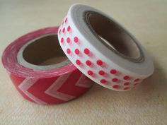Washi Tape  Double Roll  White with Red Polka Dots by HazalsBazaar, $5.00