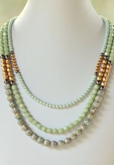 Triple Strand Statement Necklace in Shades of Gold and Green. Bib Strand…