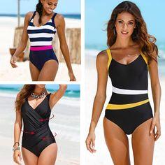 2020 New One Piece Swimsuit Plus Size Swimwear Women Classic Vintage Bathing Suits Beachwear Backless Slim Swim Wear Fashion Still Life, High Neck One Piece, Vintage Bathing Suits, Bikini 2017, Plus Size Swimwear, Swimsuits, Bikinis, One Piece Swimsuit, Beachwear