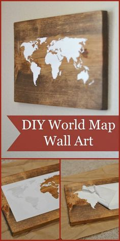 DIY Rustic Wooden World Map Wall Art