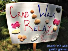 {First Birthday} Under the Sea: Decor and Games, birthday game signs, Crab walk relay game, Birthday theme, party planning, party ideas, party DIYs and tutorials, kid's/boy's birthday theme