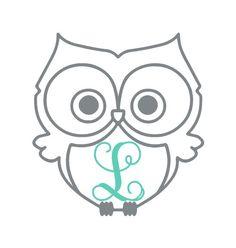 Owl Vinyl Decal Vine Monogram Car Decal Laptop by LeslieScraps