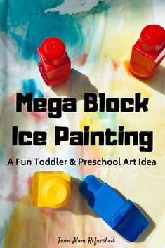 A fun way to ice paint using mega blocks!  This toddler and preschool process art activit is easy to make and fun for kids! Outdoor Activities For Toddlers, Activities For 1 Year Olds, Toddler Learning Activities, Infant Activities, Toddler Preschool, Fun Activities, Fun Learning, Easy Toddler Crafts 2 Year Olds, Toddler Fine Motor Activities