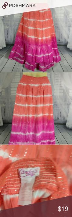 NWT Candies Hi-Lo Shimmery Metalic Circle Skirt Tie dye with shimmery stripes Candie's Bottoms Skirts