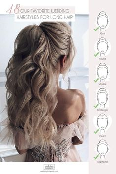 48 Our Favorite Wedding Hairstyles For Long Hair ❤ We make a list of our favorite wedding hairstyles for long hair. Look through it and pick your perfect variant to become the most beautiful bride. hair [Ultimate Guide] Wedding Updos For 2020 Brides Long Hair Wedding Styles, Wedding Hair Down, Wedding Hairstyles For Long Hair, Braids For Long Hair, Wedding Hair And Makeup, Wedding Updo, Down Hairstyles, Indian Hairstyles, Lace Wedding