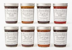 "Bonnie's Jams in Cambridge, Massachusetts, specialists in hand-made jams, jellies, and preserves.    ""While the original label employed a ""handwriting"" font, for the makeover we devised our own typeface based on alphabet and handwriting samples from the 1930s. The lid was also upgraded from gold to silver."""