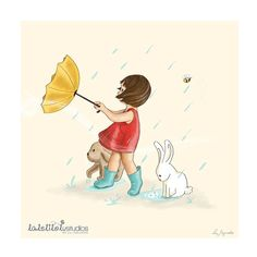 Children's Wall Art Print - Girl in the rain, Childhood Series - 8 x 8 on Etsy, $26.00