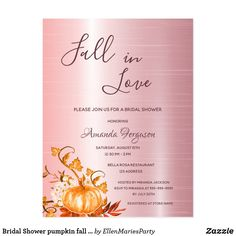 Shop Fall in love pumpkin Bridal Shower invitation Postcard created by EllenMariesParty. Bridal Shower Party, Bridal Shower Invitations, Bridal Showers, Gold Foil Background, Love Rose, Fall Pumpkins, Postcard Size, Paper Design, Falling In Love
