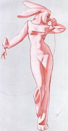 George Petty Bunny Pin-Up that inspired Hugh Hefner to create the Playboy Bunny.