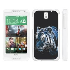HTC Desire 610 Case SNAP SHELL Perfect Fit Hard Rubberized Snap On Cover - White Dragon