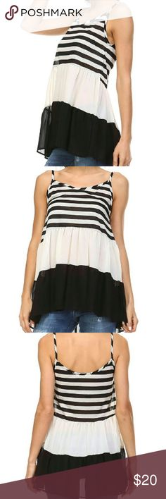 Tiered halter Tiered halter stripe tank Size small Color black Tops Tank Tops