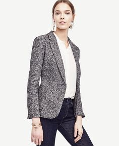 """In a marled cotton and wool blend, this soft knit blazer reveals the smartest texture play. Notched lapel. Long sleeves with functional sleeve buttons for added styling options. One-button front. Front patch pockets. Back vent. Lined. 26"""" long."""