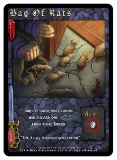 """""""Bag Of Rats"""" card from Tavern Masters fantasy card game (Dirty Deeds Expansion) by Dann Kriss. Art by Galen Ihlenfeldt. Dann Kriss Games LLC ® All Rights Reserved The Expanse, Rats, Card Games, Masters, Illustration, Artwork, Fantasy, Master's Degree, Work Of Art"""