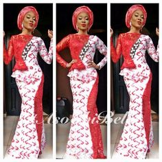 Red & White Print Dress Mixed with Red Lace & Red Gele
