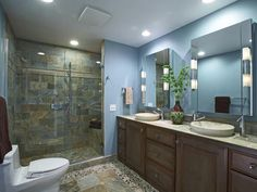 River Rock Floor - 8 Flooring Ideas for Bathrooms on HGTV