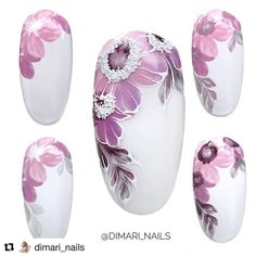 How to succeed in your manicure? - My Nails Flower Nail Designs, Nail Designs Spring, Cool Nail Designs, Remove Acrylic Nails, Acrylic Nail Art, Water Color Nails, Floral Nail Art, Manicure E Pedicure, Nail Decorations