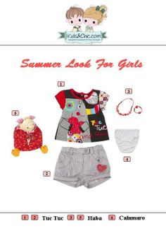#Summer #looks for #girls. Check at www.kidsandchic.com/girl  #girlsclothing #girlsfashion #kidsfashion #trendychildren #kidsclothing #shoppingbarcelona #tuctuc #haba #calamaro