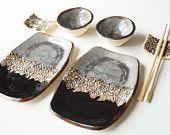 Jeu de Sushi rustique, 6 morceaux ensemble de service pour 2, plat Sushi, vaisselle en céramique, desserte Sushi, Sushi plaque, céramique et poterie, Accueil & vie