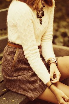 Wooly Warmth- a cabled sweater with herringbone skirt