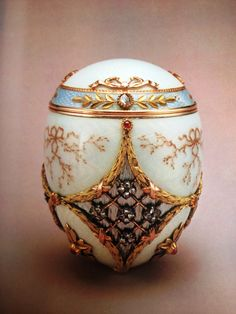 Faberge Kelch 1904. Made for the Russian industrialist Alexander Ferdinandovich Kelch, given to his wife, Barbara Kelch-Bazanova. Purchased as Imperial egg (although it is not) from A La Vieille Russie by Malcolm Forbes in 1966. In 2004 it was sold as part of the Forbes Collection to Viktor Vekselberg, who owns 9 Faberge eggs.