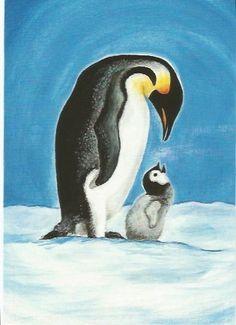 Postkarte Jahreszeitentisch Pinguine von Wurzelkinder Nostalgie Barbara Dempf auf DaWanda.com