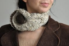 Cable neckwarmer hand knit chunky designer choker collar scarf with huge button custom color - Eco Fantasy by EveldasNeverland, $38.00