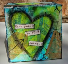 Gelli printed ATB (Artist Trading Block). Challenge 20 BOX IT UP! at Craft Hoarders Anonymous: by DT member Christy Butters using Eileen Hull box