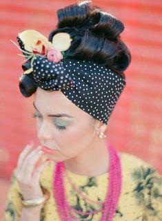 Inspired by Carmen Miranda / Jennifer Sosa Photography Havanna Nights Party, Havanna Party, Night Hairstyles, Vintage Hairstyles, Turbans, Havana Nights Dress, Havana Hair, Havana Nights Party Theme, Cuban Party