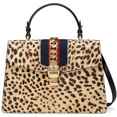 Gucci Sylvie Leopard Print Top Handle Bag (£2,470) ❤ liked on Polyvore featuring bags, handbags, gucci, leopard, top handles & boston bags, women, chain handle bag, top handle bags, beige handbags and pocket purse