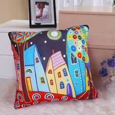 Velvet throw pillowcase cushion covers Abstract  houses/original FOLK  ART design by Karla Gerard optional sizes