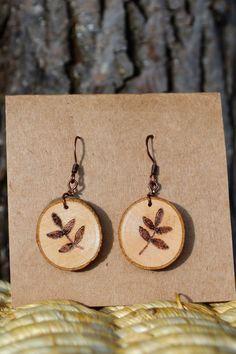 Leaf Earrings Wood Burned Earrings