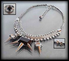 Awangardowy komplet biżuterii z kolcami dla odważnych kobiet: naszyjnik, bransoletka, kolczyki | BIŻUTERIA \ Komplety ZESTAWY \ Biżuteria | Evangarda.pl