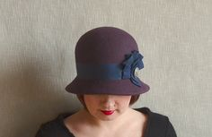 c924ba43 Items similar to Eggplant Cloche Hat with Blue Ribbon Trimming - 20s Cloche  hat - Wool Felt Hat - Winter Hat - Great Gatsby hat - Downtown Abbey hat on  Etsy