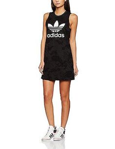 42 (EU), Black, Adidas Women's Trefoil Tank Dress, Womens, Trefoil Tank NEW