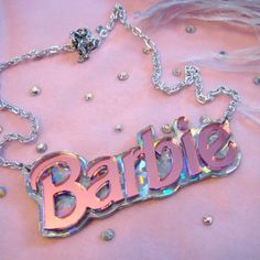 Confetti and Pink Acrylic BARBIE Necklace by imyourpresent on Etsy, $14.00
