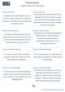 Rollenspiele A2 Deutsch Lernen Daf Lernen