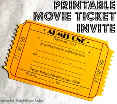 Free Printable Movie Ticket Invite (+ video tutorial on how to create the edge) || Delighting in Today