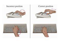 Carpal Tunnel Prevention by allpostersimage: Ergonomic hand position. Illustration #Keyboard_Ergonomics #Carpal_Tunnel