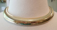 Vintage Gold Tone Flexible Egyptian Design Choker Necklace. by Bestintreasures…
