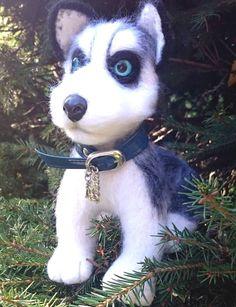 """Купить Валяная игрушка собака Хаски """"Норд"""" - подарок, игрушка ручной работы, валяная игрушка"""