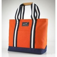 Ralph Lauren Canvas/Leather Large Handbag Orange$43.57